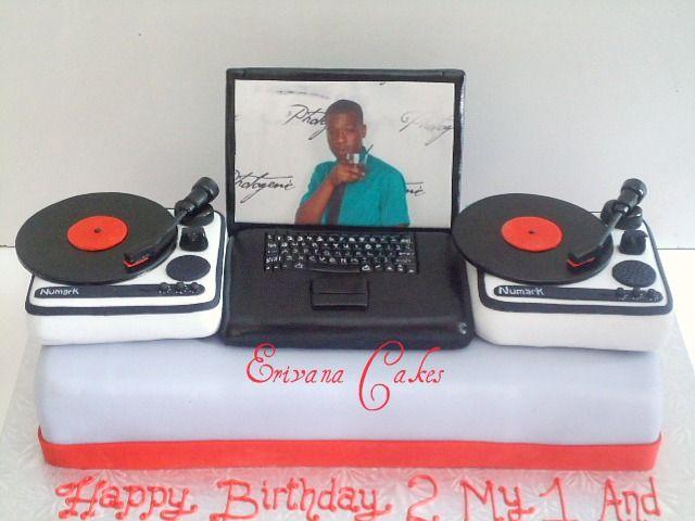 Cake Laptop Designs : DJ Turntable with Laptop Cake(SP040) Cake decorating ...