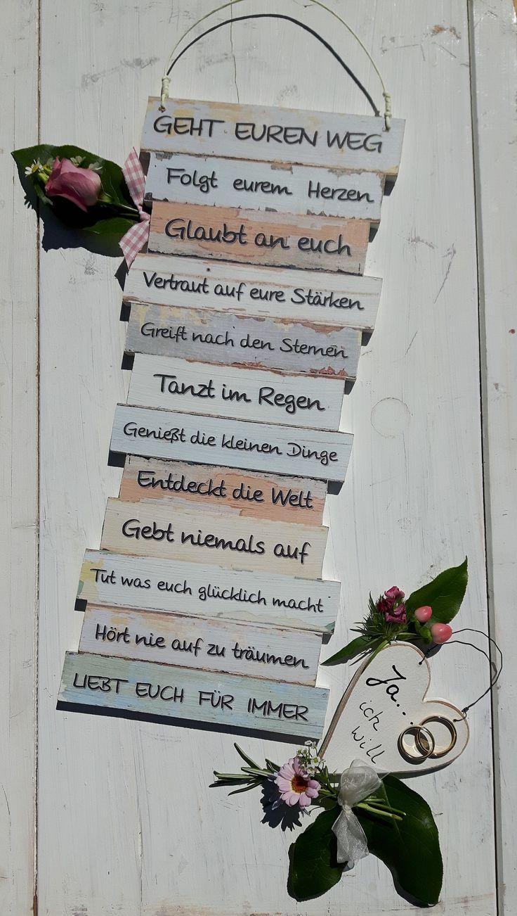 https://www.facebook.com/Puenktchenherz-1514083225528083/ und Besuch meinen Dawanda-Shop: http://de.dawanda.com/shop/Gifts-from-the-heart-by-Sunny Dekoschild Geh Euren Weg - zur Hochzeit - Hochzeitsgeschenk