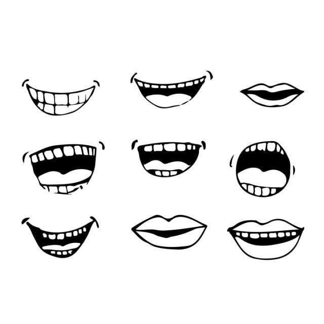 Cartoon Set Mouth Tongue People Smile Funny Icon Lips Emotion Illustration Caricature Character Happy Expression Cartoon Mouths Cartoon Icons Icon Illustration