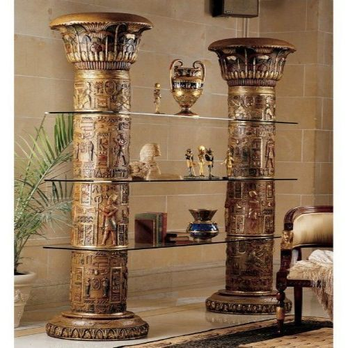 BEST PRICING  FREE SHIPPING  HIGH QUALITY  Egyptian Style Furniture Accent Etagere Bookcase Tall Display Large Unique Art  DETAILS  This egyptian style etagere art furniture with columns,will defenitely be a show-piece in your home decor!Rising...