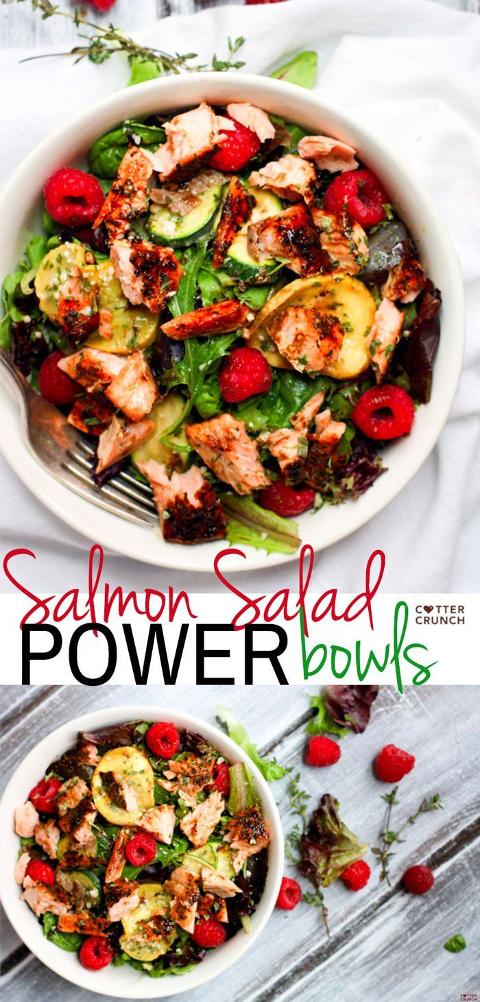 (paleo) Salmon Salad Veggie Power Bowls with Raspberry and Balsamic Glaze. Finally, a salad this is packed with flavor, healthy fats, and amazing antioxidants! Zucchini, thyme, seasonal greens, grilled salmon, and raspberries make one POWERful and delicious combo.