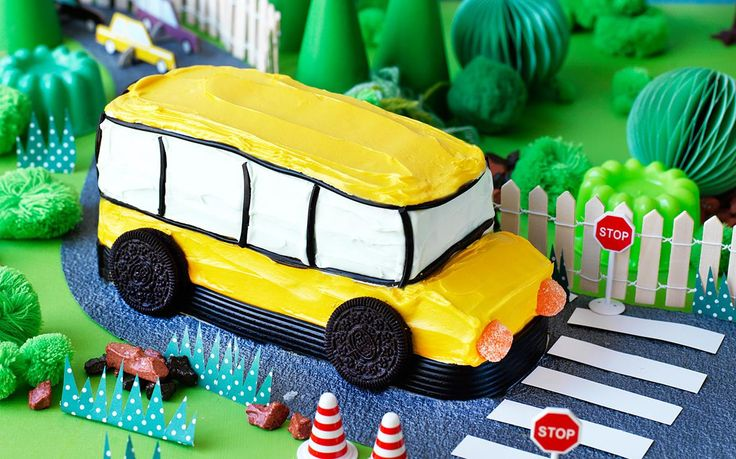 Wheels on the bus go round and round! This yellow bus birthday cake is perfect for little toy car enthusiasts. Honk honk!