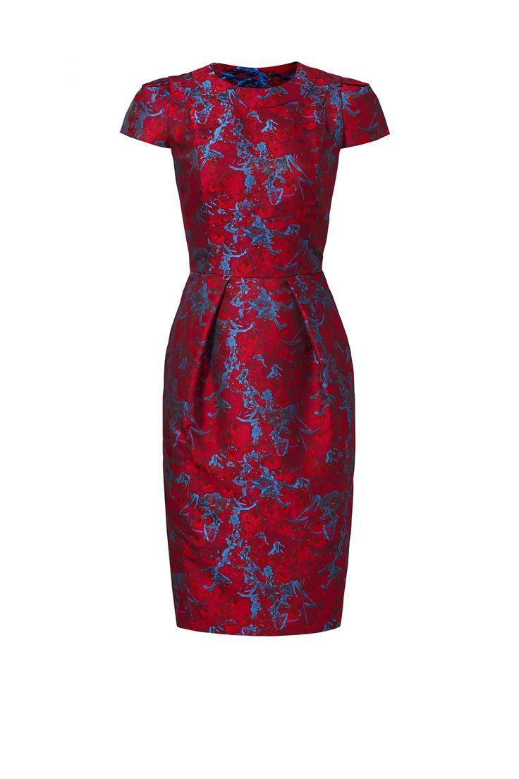 Cranberry Jacquard Dress by Carmen Marc Valvo