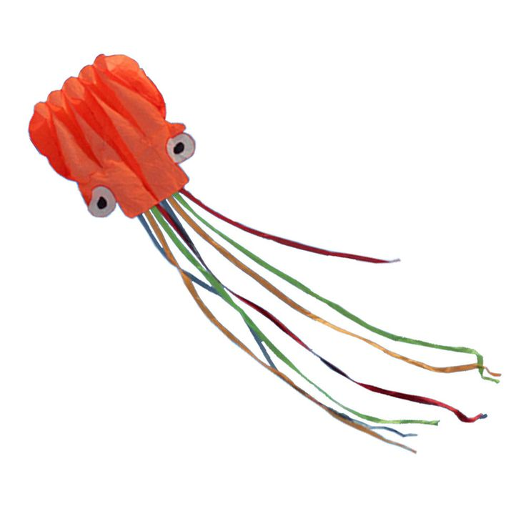 Long Colorful Tail Software Made Octopus Kite With Line,Orange