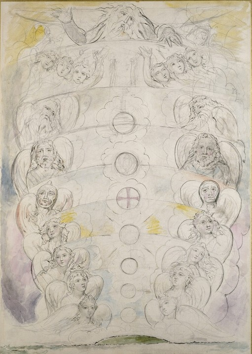 The Deity, from whom proceed the nine Spheres (1825-7)  William Blake