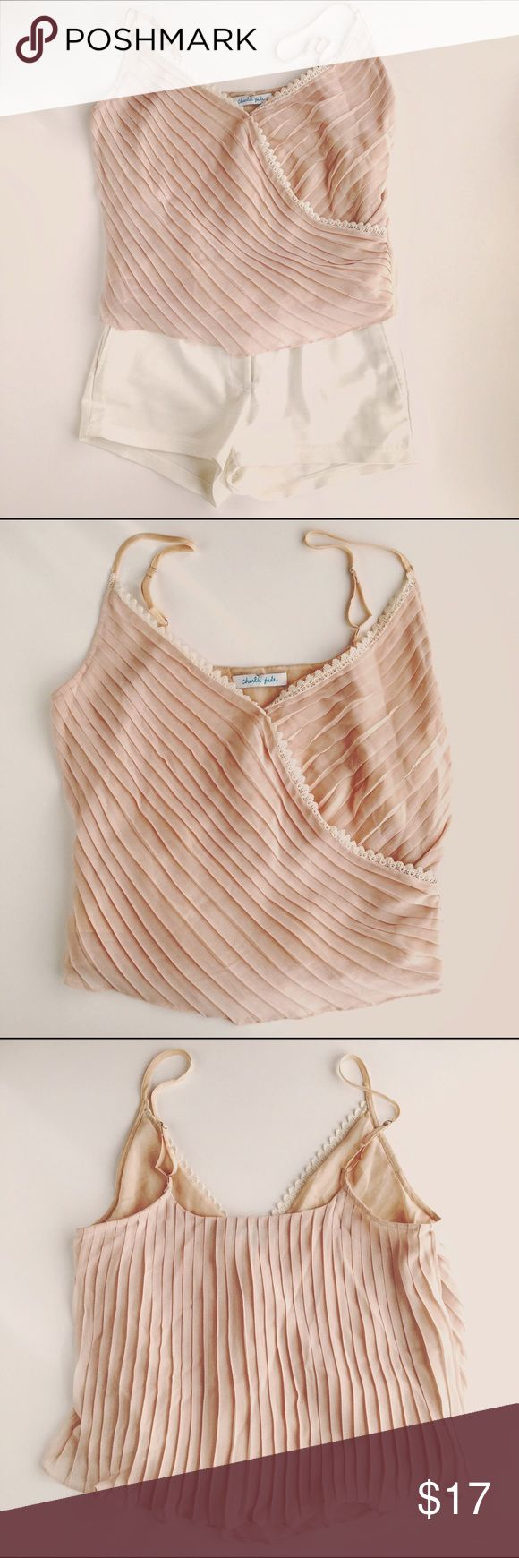 """Charlie Jade pink lace pleated Silk(?) Camisole New without tags  Lovely pleated blush top for spring. Fully lined. Wear alone or with a cardigan for a cute outfit.  Size, Fabric content & care labels are missing. Charlie Jade specializes in silk clothing and this top does appear to be silk. Based on measurements top appears to be a  Size Small.  Flat measurements:  Straps are adjustable,   Between straps - 12""""5, Bust - 18"""", Length - 18"""" not including adjustable straps  Shoulders - 12"""" Bust…"""