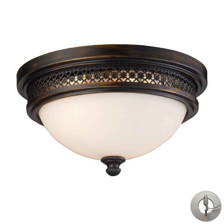 Flushmounts 2 Light Flushmount In Deep Rust And Opal White Glass - Includes Recessed Lighting Kit 20100/2-LA