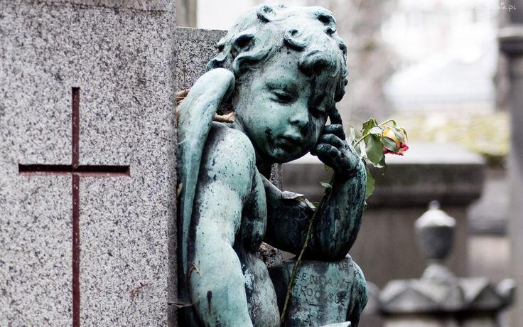 Cmentarz, Posążek, Aniołka, Róża