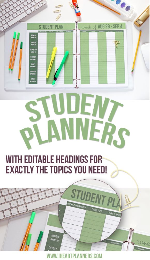 Feature alert: editable headings in the PDF download of all printable Student Planners available in the Sweet Life Planner Club! Easy to edit for your classes and topics and then automatically populate the whole PDF. Come visit the blog for a how-to and more details about the Club - iheartplanners.com