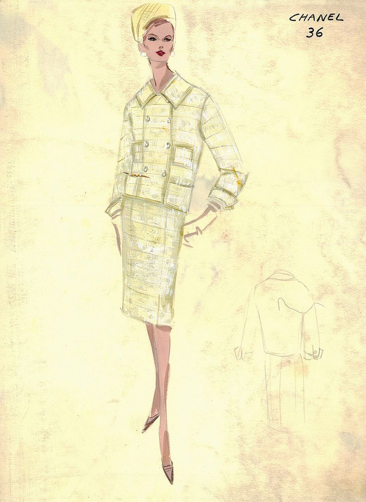 Chanel 1960 vintage chanel fashion sketches from the - Vintage chanel ...