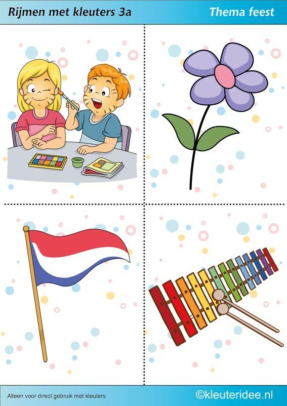 Rijmen met kleuters 3a, thema feest, juf Petra van kleuteridee, te gebruiken bij kinderboekenweek 2014,  free printable.