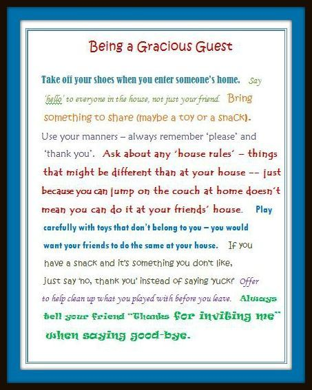 70 best basic manners teaching images on pinterest manners tips for kids being a helpful host a gracious guest stopboris Gallery