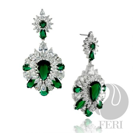 Global Wealth Trade Corporation - FERI Designer Lines-- Exclusive FERI 950 Siledium silver - Exclusive dual natural rhodium and palladium plating - Set with exclusive FERI Swan cut lab stones - Color: white and green glass - An elegant traditional drop style evening earring. Click here for more info.
