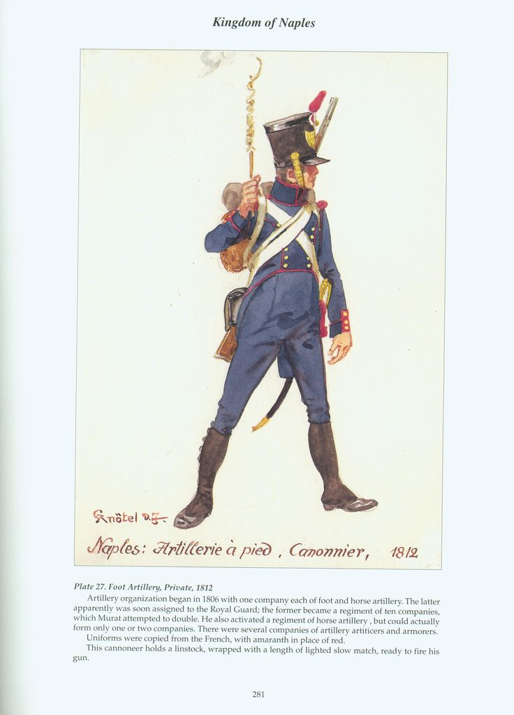 Kingdom of Naples: Plate 27. Foot Artillery, Private, 1812.