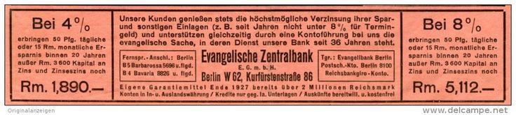 Original-Werbung/Inserat/ Anzeige 1928 - EVANGELISCHE ZENTRALBANK BERLIN - ca. 40 X 140 mm