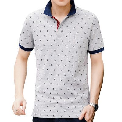Polo Shirt Men Summer 100% Cotton Printed POLO Shirts Brands Short Sleeve Camisas Polo Stand Collar Male Polo Shirts 3XL,EDA377