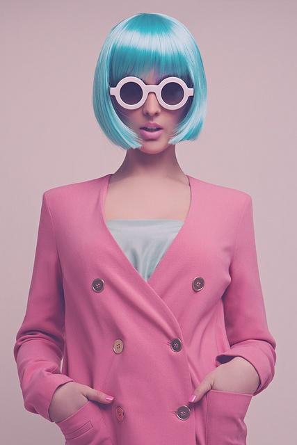 Blue Wig. Pink Jacket. Glasses. Love.