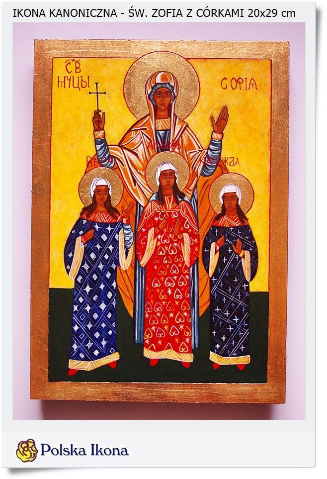 Ikona pisana na desce Św. Zofia z córkami