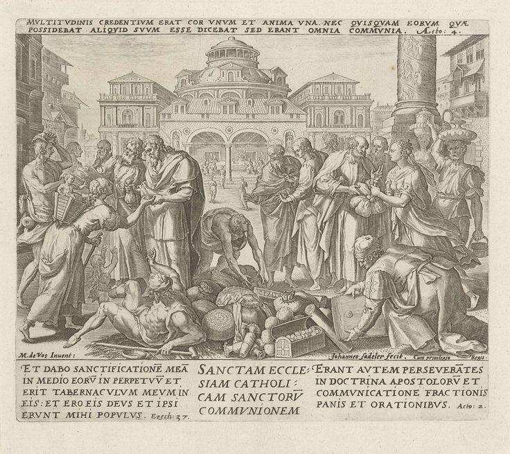 Johann Sadeler (I) | Handelingen der apostelen: 'de heilige katholieke Kerk, de gemeenschap van de heiligen', Johann Sadeler (I), 1579 | Het negende geloofsartikel: het geloof in de christelijke kerkgemeenschap. De apostelen genezen zieken en doen aan liefdadigheid. Ze nemen giften in ontvangst en verdelen die naar behoefte over de gelovigen. De prent heeft een Latijns opschrift met een Bijbelcitaat dat refereert naar het afgebeelde Bijbelverhaal en een Latijns onderschrift over de…