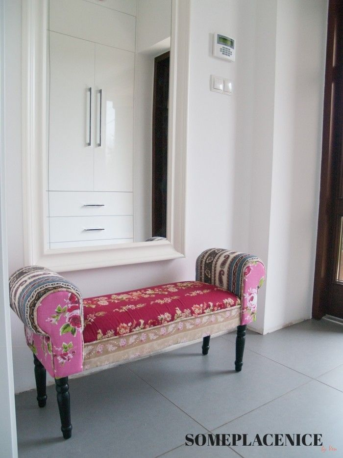 tufted bench in the hallway - love the idea!!!