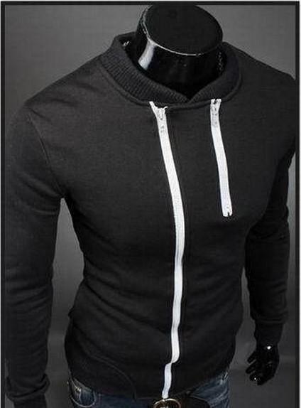 Black Full Zipped-up Biker Sweater  | Asian Fashion Headquarters