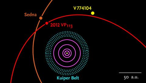 Beyond its distance and estimated size, astronomers know little about the distant object V774104. Within a year, they hope to determine the characteristics of its orbit around the Sun (small yellow dot at center). The outermost pink circle denotes Neptune's orbit.