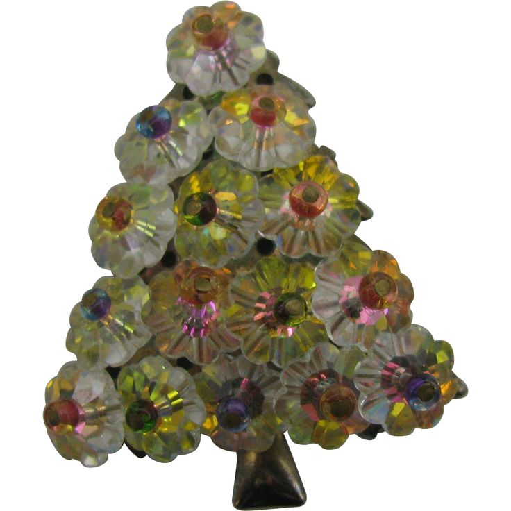 Vintage AB Rivoli RHINESTONE Christmas Tree Pin / Brooch.   https://www.pinterest.com/clarasjewelry/christmas-on-ruby-lane/
