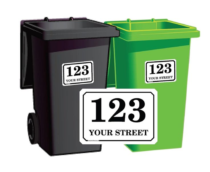 Personalised Printed Wheelie Bin Number Stickers with Road and Street Name - A6 or A5 Vinyl Waste Container Decals - Black on White - 4 Pack by theTbird on Etsy https://www.etsy.com/listing/473601401/personalised-printed-wheelie-bin-number
