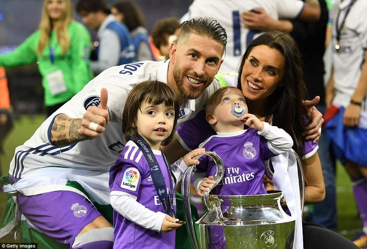 Ramos is all smiles alongside his wife Pilar Rubio, their children and the Champions Leagu...