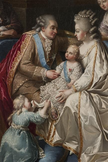 Louis XVI, Marie Antoinette, Marie Thérèse Charlotte and the infant Louis Joseph. Detail from an painting circa 1782. [credit: (C) Château de Versailles, Dist. RMN-Grand Palais / Christophe Fouin]