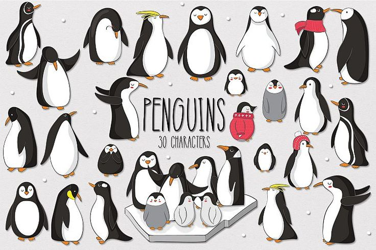 Penguins includes 30 cute penguin designs, perfect for prints, giftware and patterns! #Penguins #animals #cute #clipart #illustrations #crafts #craft