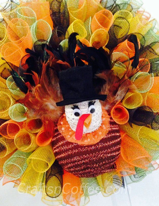 A Deco Mesh Turkey Wreath! Love this, and pretty easy, too.