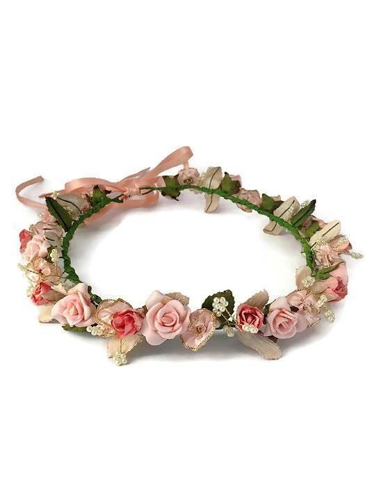 Blush Pink flower crown Blush wedding tiara by CraftCelebration