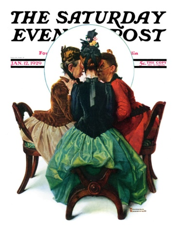 Three Gossips Saturday Evening Post Cover, January 12,1929 Giclee Print by Norman Rockwell