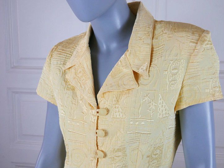French Vintage Yellow Brocade Dress, Short-Sleeve Lemon Yellow Shirt Dress, Abstract Pattern Brocade Summer Dress: Size 8 US, 12 UK by YouLookAmazing on Etsy