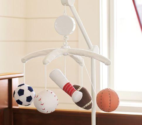 JV Sports Nursery Mobile | Pottery Barn Kids sports nursery decorations