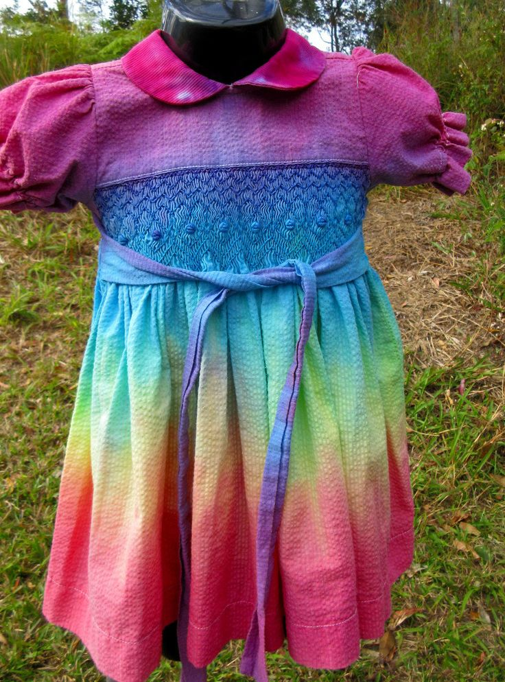 Handpainted Rainbow Baby Girls Dress with Textured Smocking by ArtNomadix on Etsy