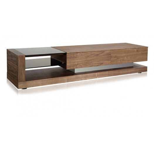"Features: -2 Drawers. TV Size Accommodated: -70"". Product Type: -TV Stand. Design: -Enclosed storage. Finish: -Walnut. Frame Material: -Manufactured wood. Hardware Finish: -Brushed nickel. Eco"