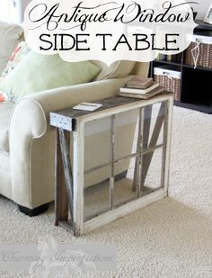 DIY narrow side table with an antique window and a couple of weathered old boards. |  Full tutorial  | Make the Most of a small space | Easy DIY and budget friendly