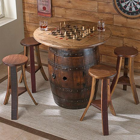 Whiskey Barrel Game Table With 4 Stools At Wine Enthusiast