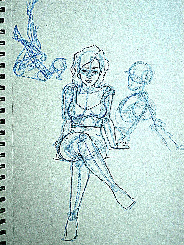 Personaje de Amy, boceto y estudio de poses para un comic.