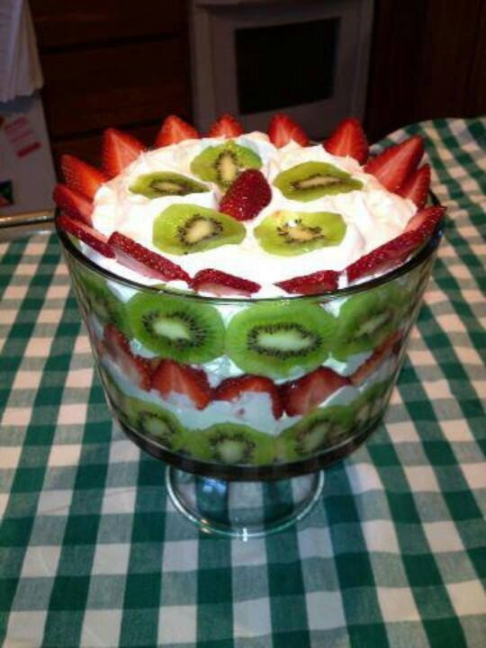 Strawberry Kiwi Angel Food Cake Trifle