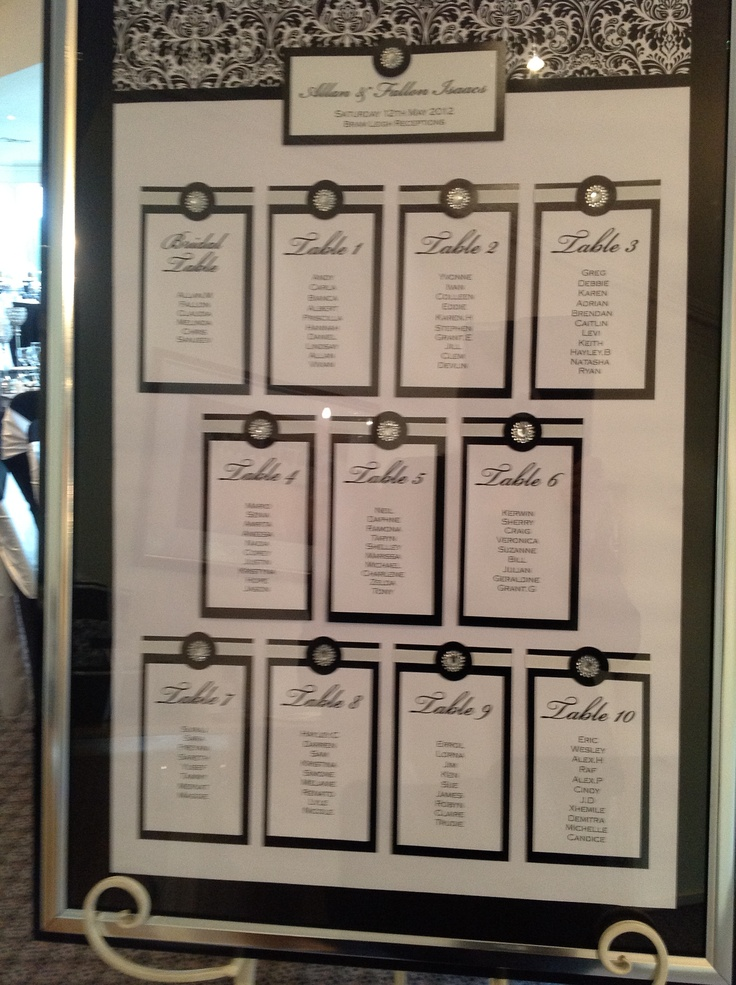 guest seating board theme for this wedding was black white and bling
