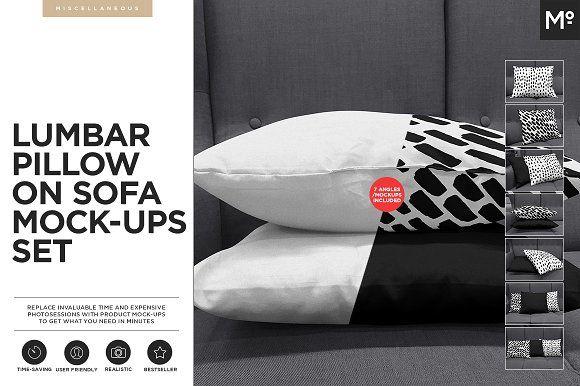 Lumbar Pillow on Sofa Mock-ups Set by Mocca2Go/mesmeriseme on @creativemarket