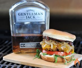 Looking for a burger to impress your man? This Gentleman Jack Whiskey Burger with beef bacon will do the trick.