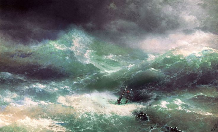 Ivan Konstantinovich Aivazovsky. Big Wave, Date: 1889, Location: St. Petersburg, Russian Museum. Buy this painting as premium quality canvas art print from Modarty Art Gallery. #art, #canvas, #design, #painting, #print, #poster, #decoration