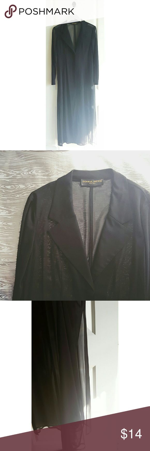 """VTG Donna Ricco NY Sheer Full Length Dress Jacket Beautiful sheer dress jacket! Wear it over your favorite sundress for an extra touch of drama or spice up your usual shorts and tee. Features a slit up both sides that measures 28"""" up. Measurements have been taken. There is no size tag but according to measurements I am marking a large. 📏 Bust- 40"""" Shoulder to Hem- 54""""  💖 Every listing purchased enters you in for a gift card drawing at the end of the month. Donna Ricco Jackets & Coats"""