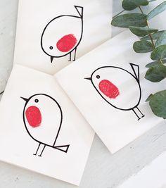 Handmade thumbprint robin red breast Christmas cards