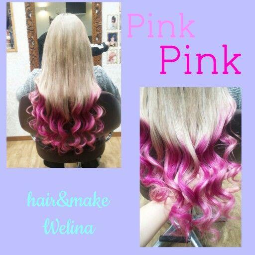 Pink dipdye ash blonde  extension  Hair&make Welina Hitomi.yanagida Myworks  ピンク ディップダイ アッシュブロンド エクステ Haircolor ヘアカラー