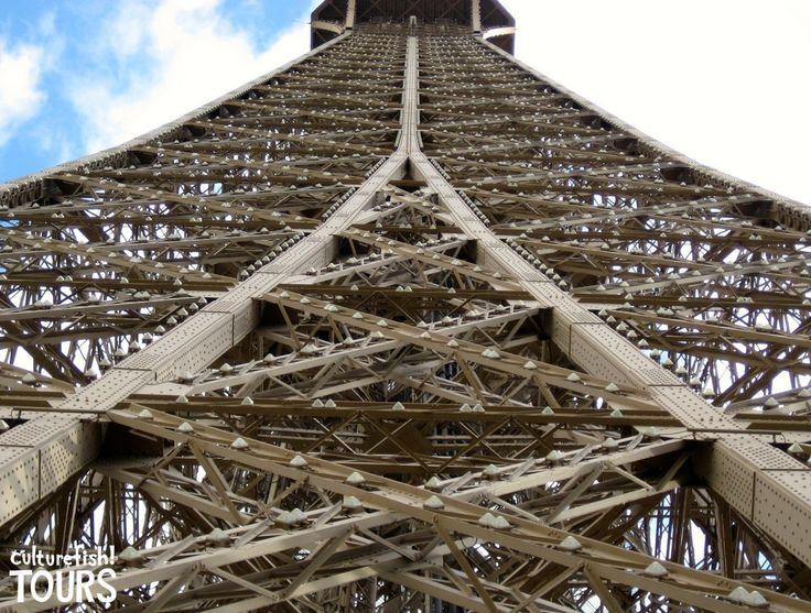 Looking up at the Iron Lady. Eiffel Tower in Paris, France